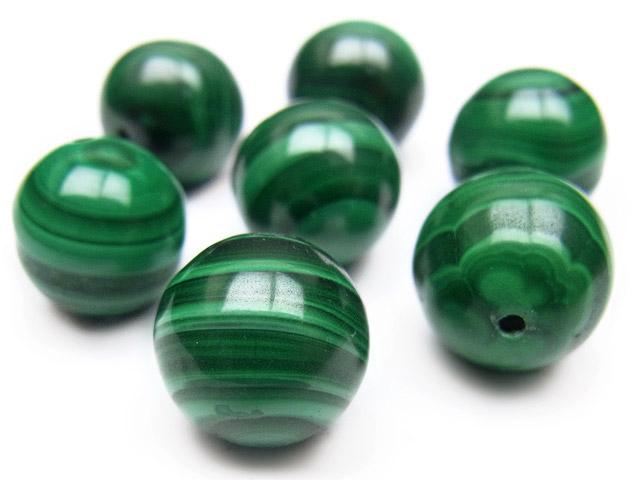 天然石【粒販売】マラカイト 丸玉 12mm【2粒販売】のビーズや14KGFの販売